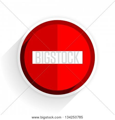 minus icon, red circle flat design internet button, web and mobile app illustration