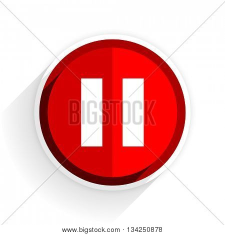 pause icon, red circle flat design internet button, web and mobile app illustration