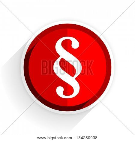 paragraph icon, red circle flat design internet button, web and mobile app illustration