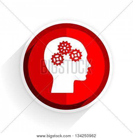 head icon, red circle flat design internet button, web and mobile app illustration