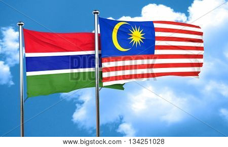 Gambia flag with Malaysia flag, 3D rendering