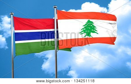 Gambia flag with Lebanon flag, 3D rendering