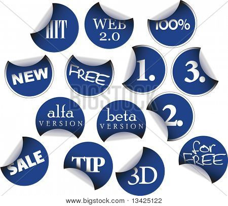 Labels badges and stickers with various texts