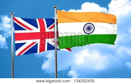 Great britain flag with India flag, 3D rendering