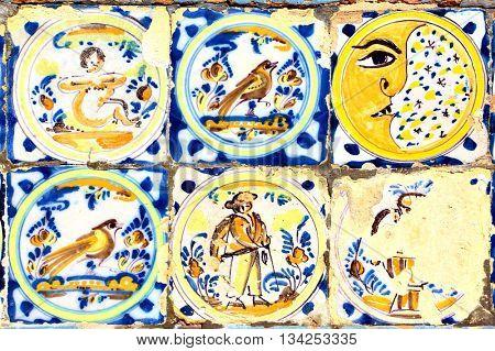 Old moorish ceramic tiles (circa 17th century), Andalusia, Spain