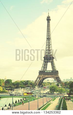 The Eiffel Tower in Paris, France. Instagram style filtred image