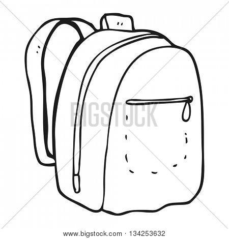 freehand drawn black and white cartoon rucksack