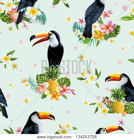 Toucan Bird. Tropical Flowers Background. Retro Seamless Pattern. Vector Background.