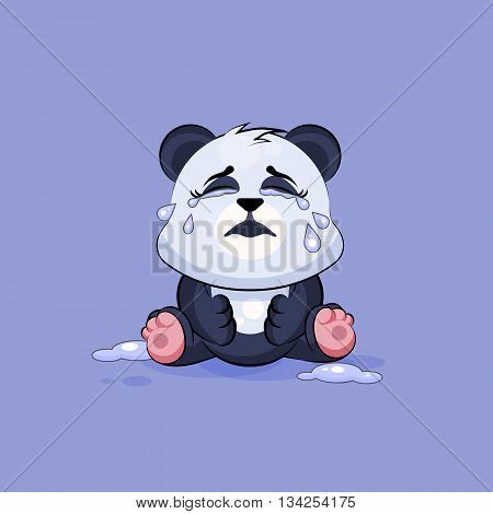Vector Stock Illustration isolated Emoji character cartoon Panda crying, lot of tears sticker emoticon for site, info graphic, video, animation, websites, e-mails, newsletters, reports, comics