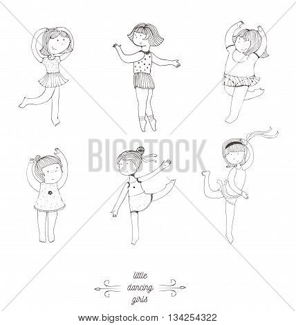 Black and white set of vector handdrawn dancing girls. Cute and fun girls in various poses with smile on face moving in steps. Isolated on white illustration good for dance studio dance school