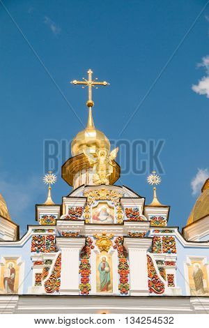 St. Michael's Golden-Domed Monastery in Kiev, Ukraine, facade detail. Built in Middle Ages, demolished in 1934-1936 by Soviet government and rebuilt in 1999
