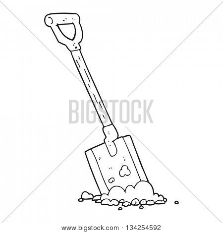 freehand drawn black and white cartoon shovel in dirt