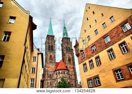 Street and Holy Sebaldus Church in Nuremberg, Germany