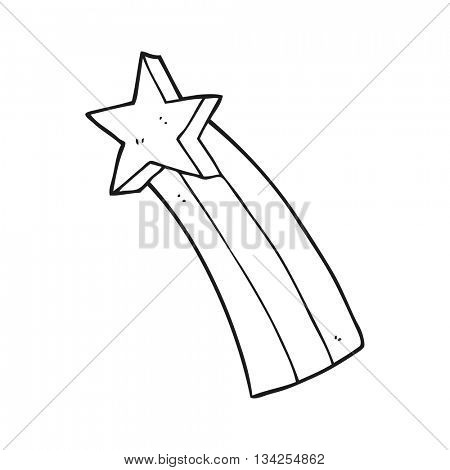 freehand drawn black and white cartoon shooting star