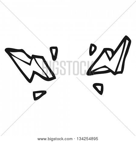 freehand drawn black and white cartoon decorative doodle lightning bolts