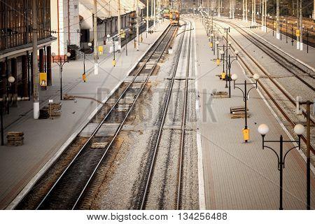 railway station. top view. Train station no man