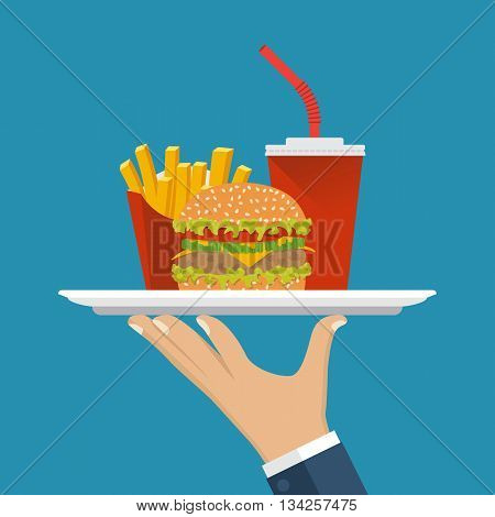 Waiter delivers the food. Service in cafe fast food man with a tray. Fast food: hamburger fries soda. Vector illustration flat design. Takeaway food.