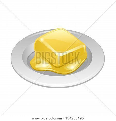 Butter On White Plate Vector