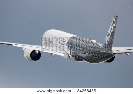 BERLIN - JUN 2 2016: Airbus A350 XWB take off from Berlin-Schoneveld airport