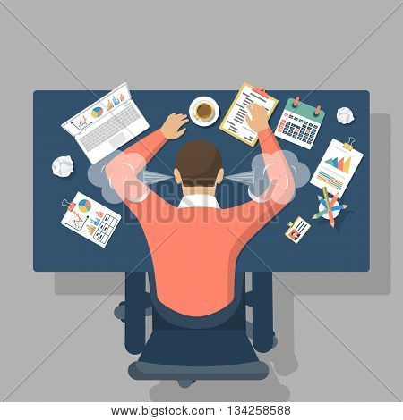 Man at desk overwhelmed hard work. Stress at work. Fatigue at work. Vector illustration flat design.