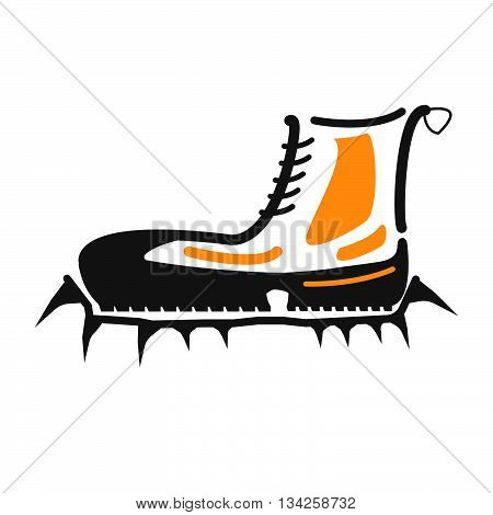 Boots With Crampons Isolated On White Background. Boots With Crampons Vector Illustration.
