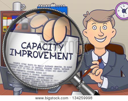 Businessman in Suit Holds Out Paper with Capacity Improvement Concept through Magnifier. Closeup View. Colored Modern Line Illustration in Doodle Style.