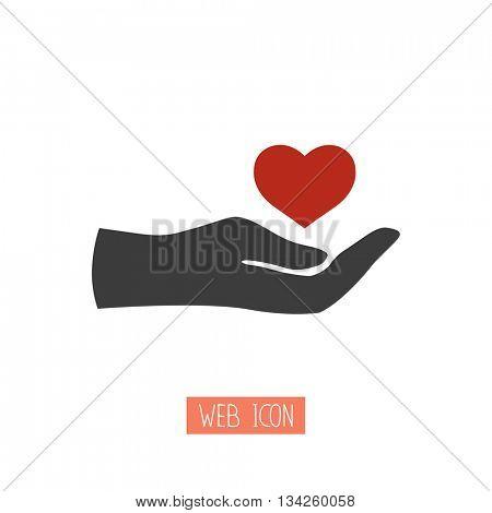 Heart in hand.Vector illustration
