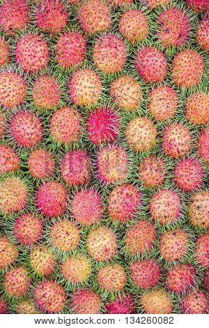 Pattern Of Rambutan For Food Background