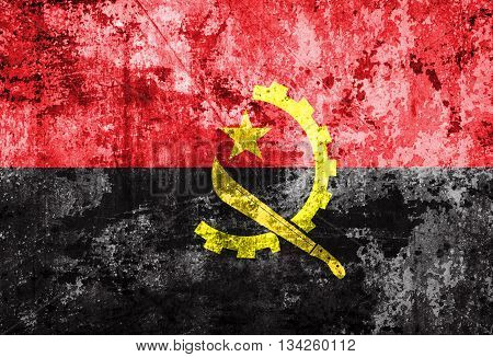 Angola Flag on vintage paper texture background