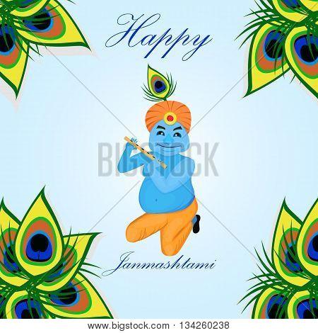 Lord Krishana in Happy Janmashtami in cartoon. Poster Janmashtami