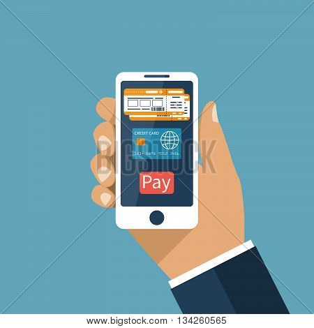 Purchase booking airline tickets online. Payment for tickets by credit card on Internet. Man holds smartphone in hands order ticket. Vector illustration flat design.