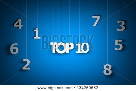 Top 10 - word hanging on the ropes. 3d illustration
