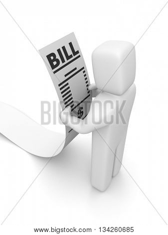 People looking the bill. 3d illustration