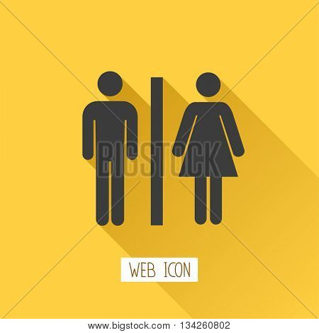 Toilets vector icon. Style is flat rounded symbol, black color, rounded angles, background.