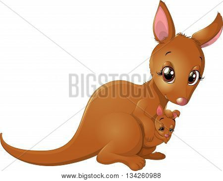 kangaroo with a baby in a bag on a white background