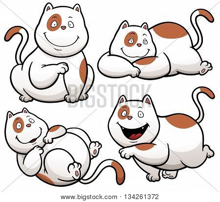 Vector illustration of Cat Cartoon Character design