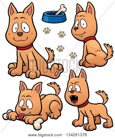 Vector illustration of Cartoon Dog Character design