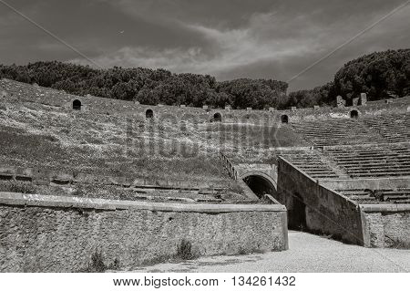 Ancient Arena of the Amphitheatre in Pompeii, Italy. View of the ruins of Ancient Roman city. The ruins overgrown with grass and flowers. A monochrome image, black and white.