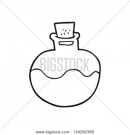 freehand drawn black and white cartoon science potion