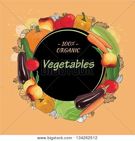 Vector illustration of hand drawn organic vegetables, eco harvest with text. Bulb onions, pumpkin, cabbage, pepper, eggplant, carrot.
