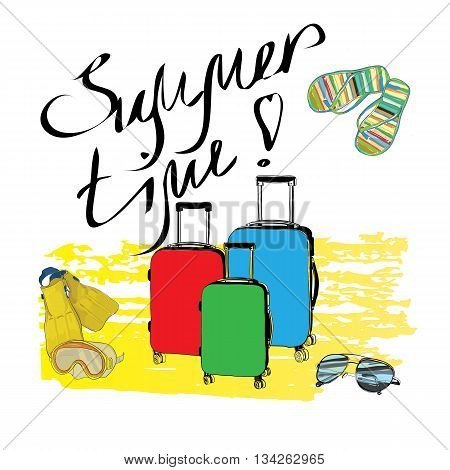 Vector illustration of Hand drawn typographic design Summer Time with sketch elements suitcases, mask, flippers, sunglasses
