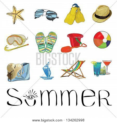 Vector illustration of hand drawn Summer set icons. Sunglasses, starfish, hat, mask, ball, beach flip, cocktails, recliner, chaise longue