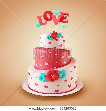 Cake with hearts. Valentine's day.3D illustration or 3D rendering. Free high resolution close up photo of black canvas fabric or cloth. This picture would make a great web background or desktop wallpaper, or great texture for scrapbooking.