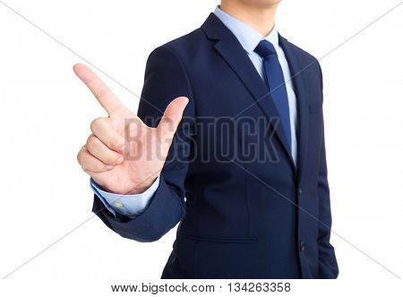 Businessman show with tick on finger