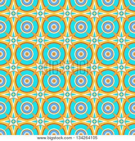 Color, geometric pattern with turquoise rounds and yellow-turquoise stars on yellow background. For the decoration.