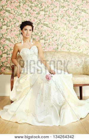 Romantic white mature bride on vintage background