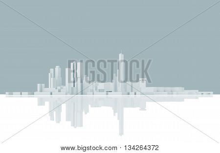 Abstract Modern Cityscape Skyline. Blue Toned