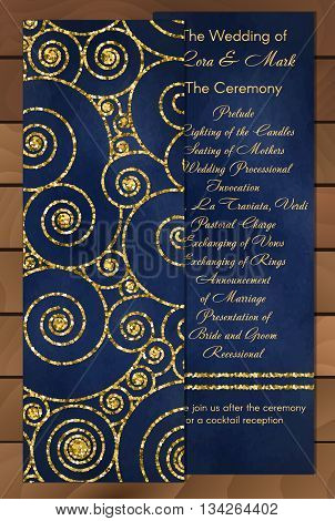 Set of trendy invitations with gold glitter texture on blue. Wedding marriage bridal birthday Valentine's day. Isolated. Vector