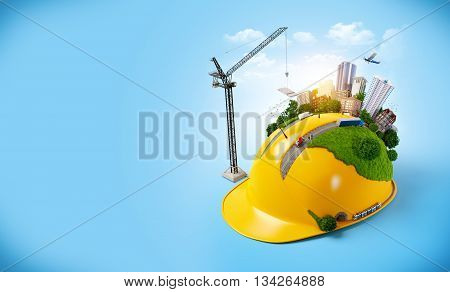 City on the construction helmet. 3D illustration or 3D rendering