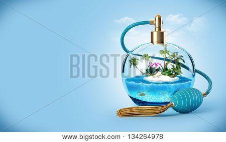 Tropical island in a perfume bottle. Traveling background. 3D illustration or 3D rendering